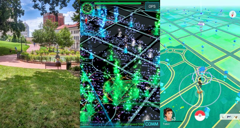 Richmond's Capitol Square in three realities: real, Ingress, and Pokémon Go.